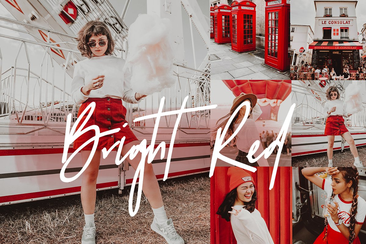 BRIGHT RED LIGHTROOM PRESETS ~ Other Design Software Add-Ons