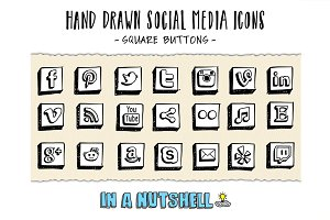 Hand Drawn Social Media Icons Square