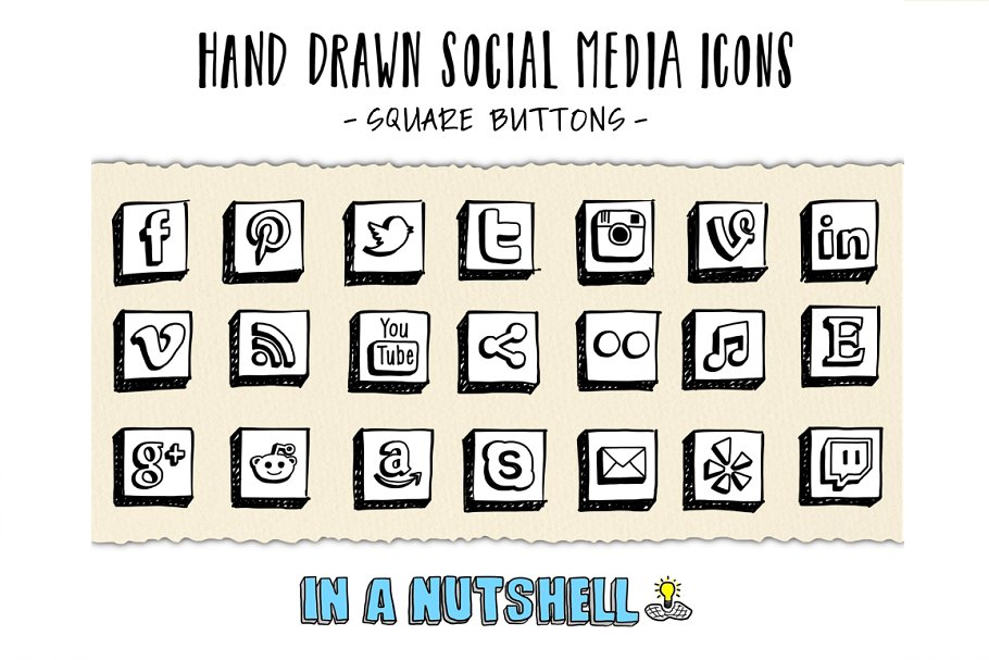 Hand Drawn Social Media Icons Square