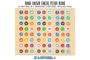 Hand Drawn Social Media Icons Circle