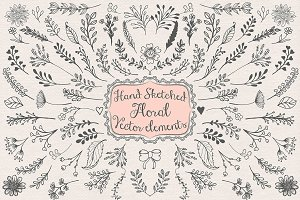 Vector hand sketched floral cliparts