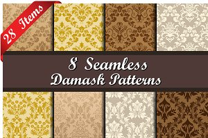 Set of 28 Damask Seamless Patterns