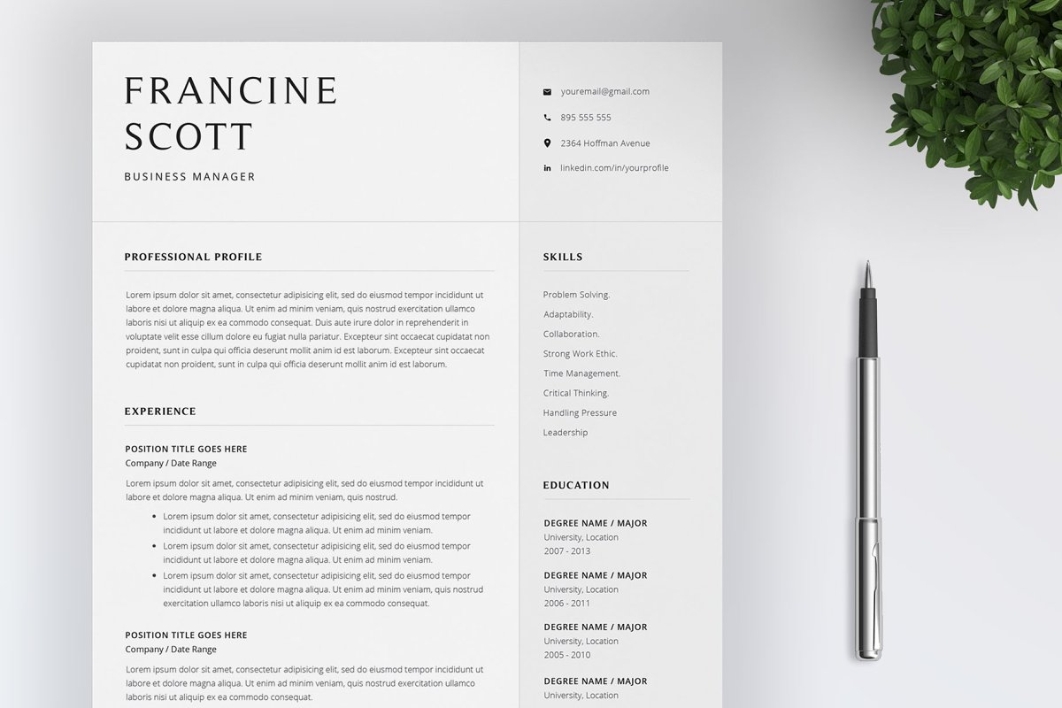 Resume Template / 4 Pages CV ~ Resume Templates ~ Creative Market