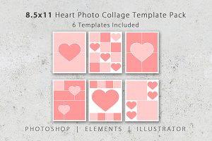 8.5x11 Heart Collage Photo Templates