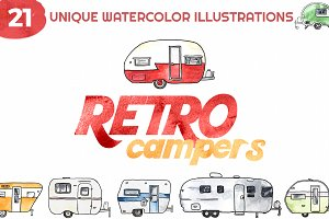 Retro Campers Watercolor