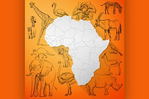Africa Map and Hand drawn animal