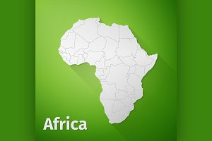 Africa Map on Green Background