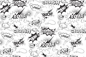 Comic black speech bubbles