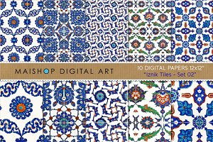 Digital Paper - Iznik Tiles Set 02