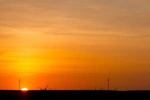 Beautiful Orange Sunset with Shadows