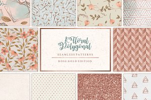Floral & Polygonal Patterns RoseGold