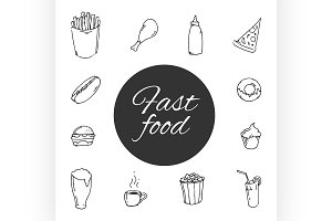 fast food Sketch design icon set