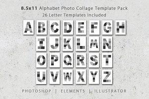 8.5x11 Alphabet Photo Template Pack