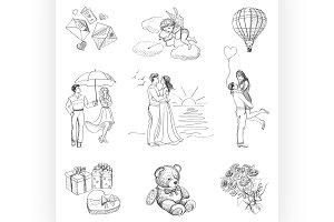 Hand drawn Love Story icons