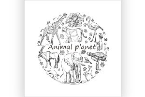 Hand drawn Save animal planet