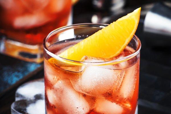 Summer alcoholic cocktail Negroni w…
