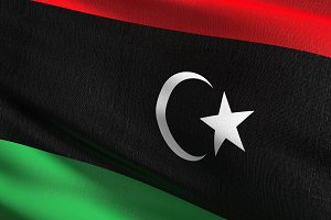 Libya national flag blowing in the w