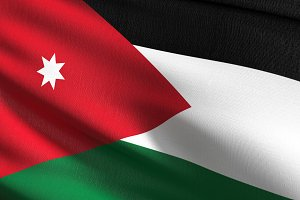 Jordan national flag blowing in the
