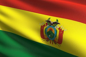 Bolivia national flag blowing in the