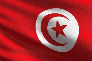 Tunisia national flag blowing in the