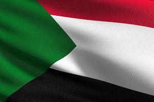 Sudan national flag blowing in the w