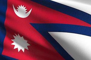 Nepal national flag blowing in the w
