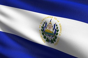 El Salvador national flag blowing in