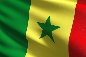 Senegal national flag blowing in the