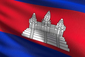 Cambodia national flag blowing in th