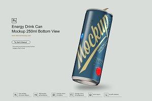 Energy Drink Can Mockup 250ml Bottom