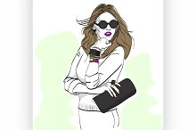 Model fashion. Sketch.