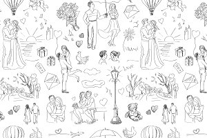 Seamless pattern with love story
