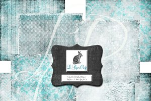 Teal Background Digital Paper Set #1