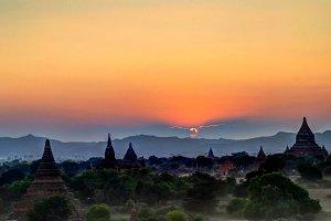 Aerial view to Bagan at sunset Myanm