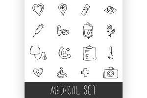 Sketch Medical Icon Set