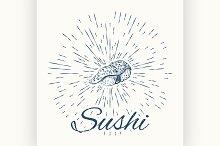Sushi and vintage sun burst frame