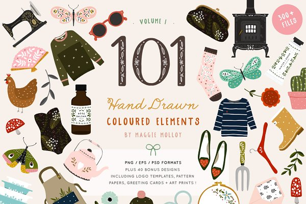 Illustrations: Maggie Molloy - 101 Hand Drawn Colour Elements