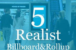 5 Realistic Billboard&Rollup Mockup