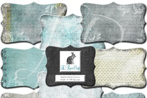 Teal & Chartreuse Clipart Frames PNG