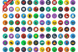 744 icons in flat design