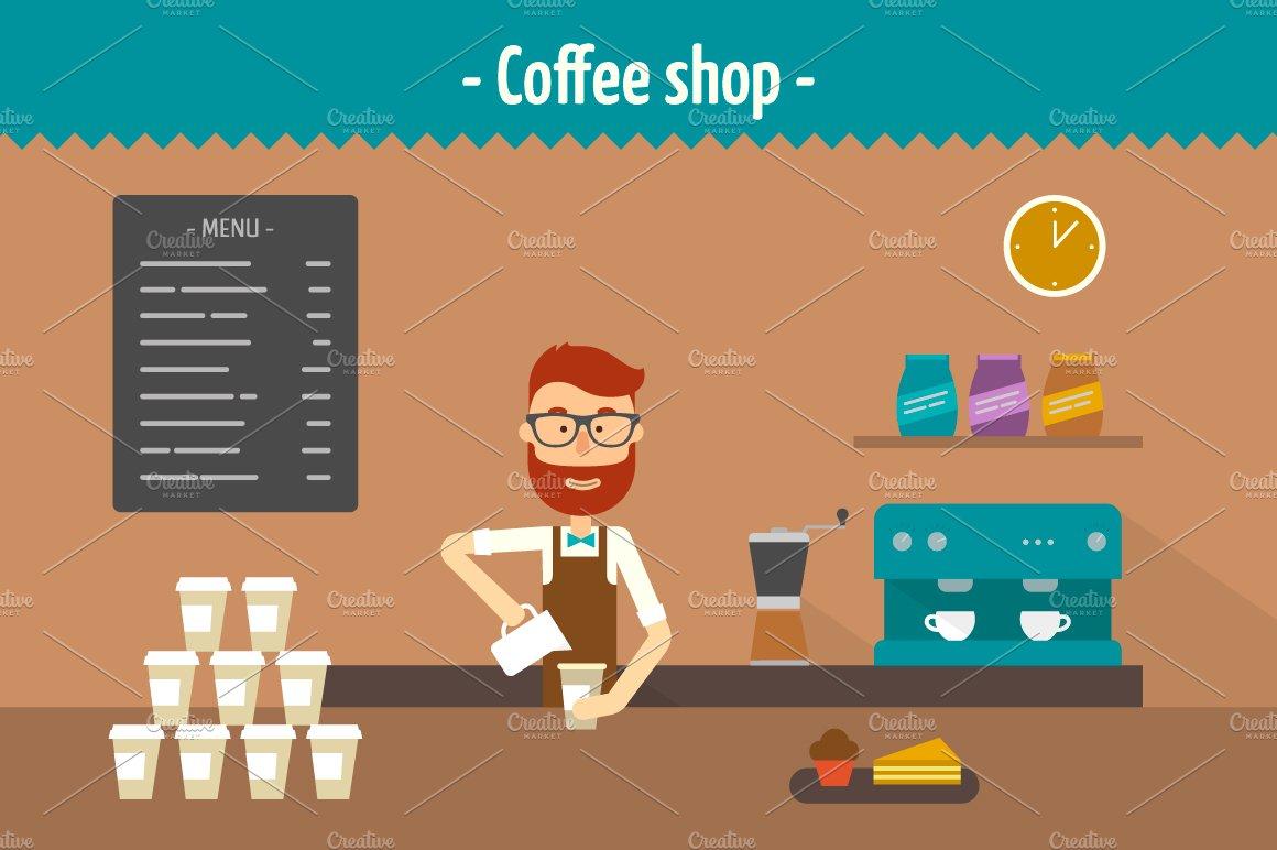 Coffee Shop Two Flat Illustrations Illustrations