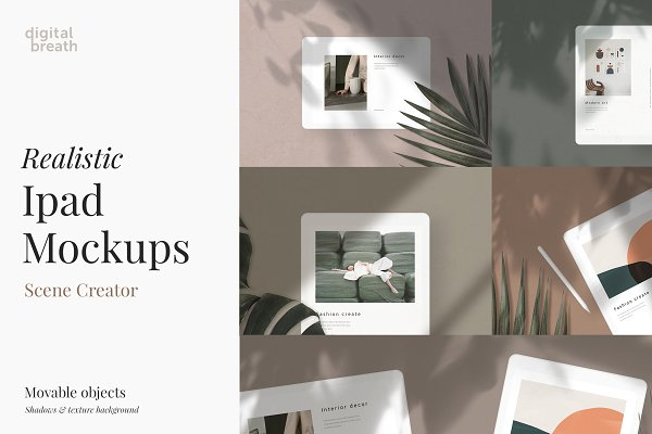 Mobile &amp&#x3B; Web Mockups: Digital Breath templates - Ipad Mockups