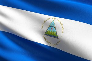 Nicaragua national flag blowing in t