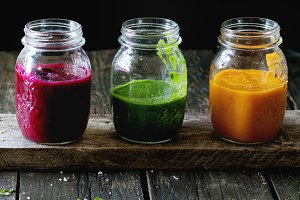 Assortment of vegetable smoothies