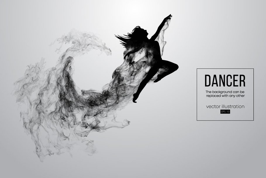 36ab86573a52 Silhouette of a dancing girl. Vector ~ Illustrations ~ Creative Market