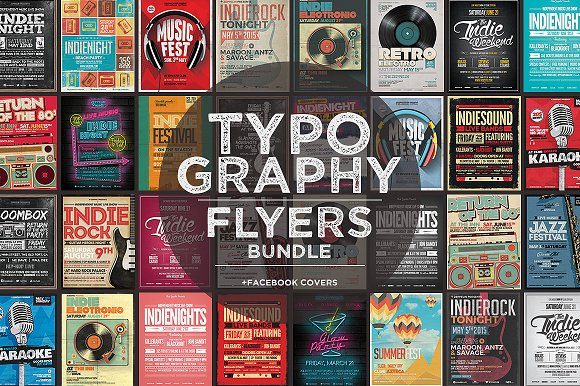 17 Typography Flyers FB Covers Flyer Templates Creative Market