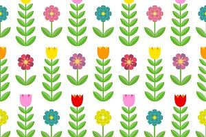 Tulips and flowers. Seamless pattern