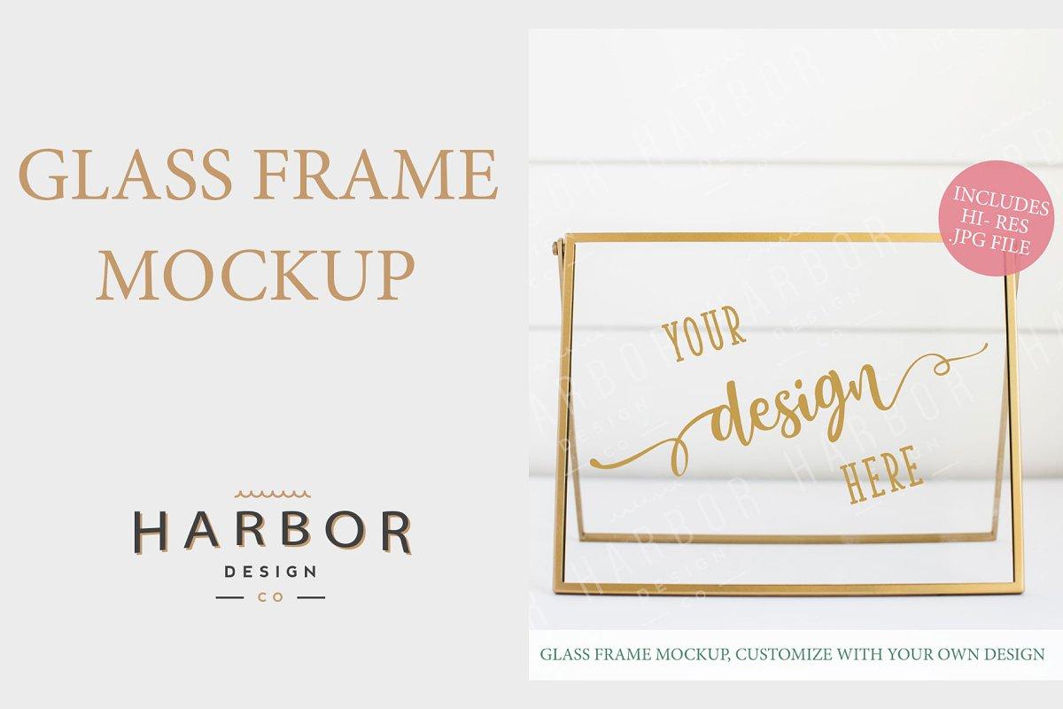4f0c02748ef0 Glass Frame Mockup - Gold Sign ~ Print Mockups ~ Creative Market