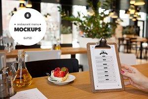 Restaurant menu - 6 mockups