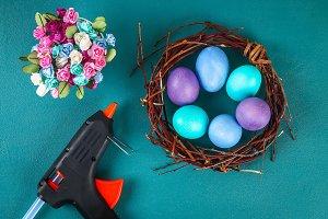 Diy Easter wreath of twigs, painted